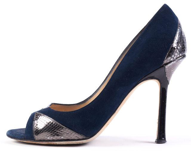 JIMMY CHOO Navy Blue Snakeskin Embellished Suede Open Toe Heels