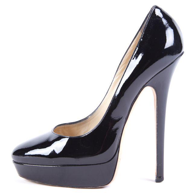 JIMMY CHOO Black Patent Leather Stilettos Heels