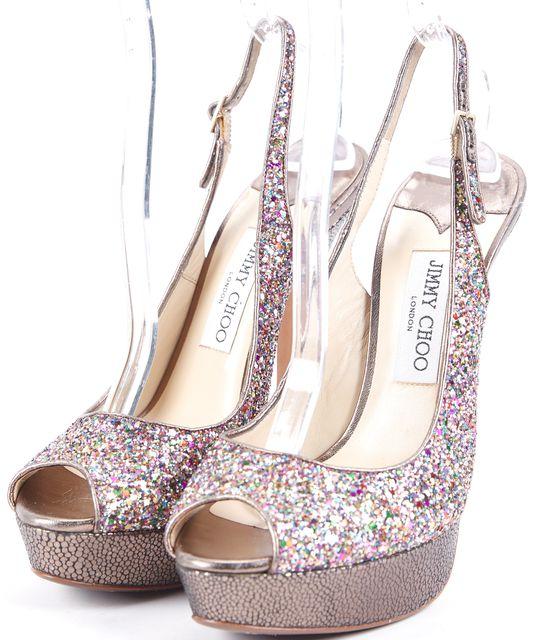 JIMMY CHOO Multi-color Glitter Embossed Leather Open Toe Platform Shoes