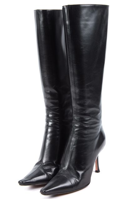 JIMMY CHOO Black Leather Knee-high Boots