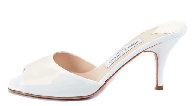 JIMMY CHOO White Patent Leather Slip-on Sandal Heels