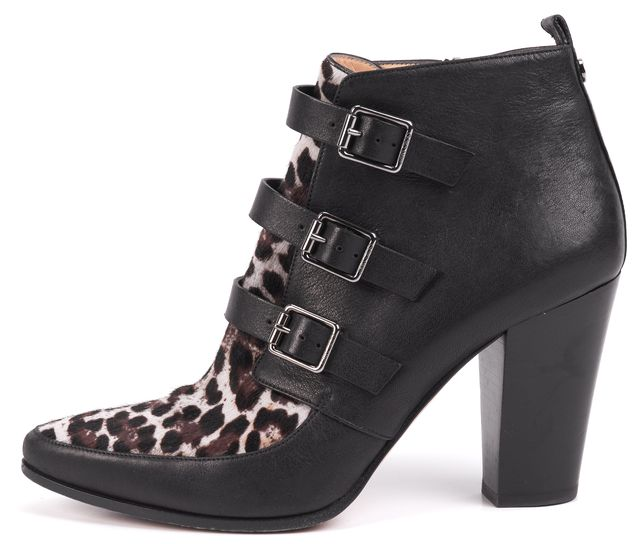 JIMMY CHOO Black Animal Print Leather Ankle Boots