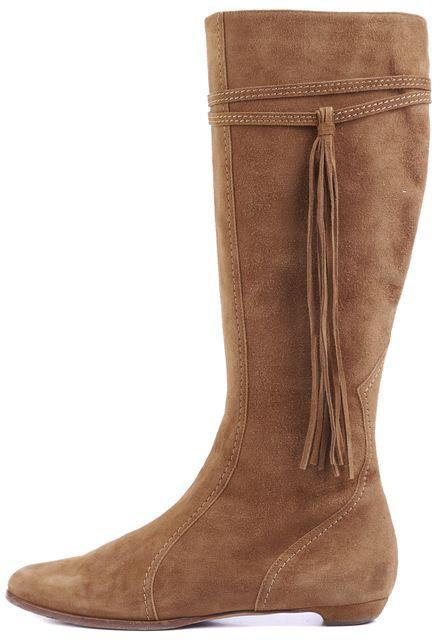JIMMY CHOO Caramel Brown Suede Knee-high Fringe Tassel Boots