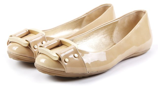 JIMMY CHOO Gold Patent Leather Buckle Detailed Flats