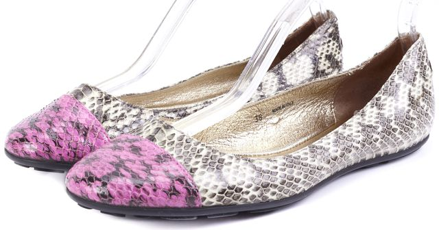 JIMMY CHOO Beige Snakeskin Purple Toe Animal Print Flats