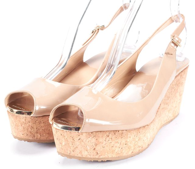 JIMMY CHOO Beige Patent Leather Cork Slingback Wedge Heels Size US 9.5 IT 39.5
