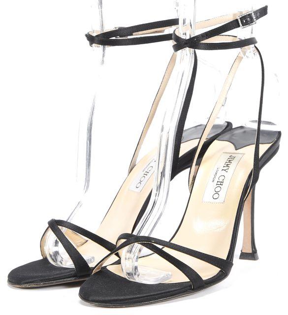 JIMMY CHOO Black Strap Up Sandal Heels Size US 8 IT 38.5