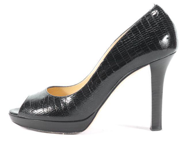 JIMMY CHOO Black Snakeskin Embossed Leather Open Toe Heels Size US 7.5 EU 38