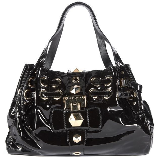 JIMMY CHOO Black Patent Leather Gold Hardware Tote Shoulder Bag