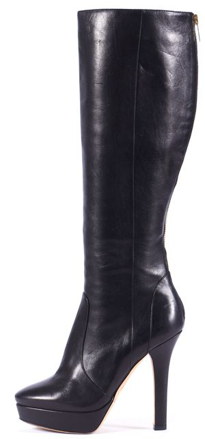 JIMMY CHOO Black Leather Platform Knee-high Tall Boots
