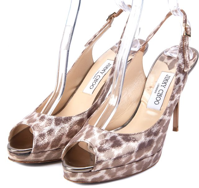 JIMMY CHOO Gold Animal Print Open Toe Slingback Stiletto Heels