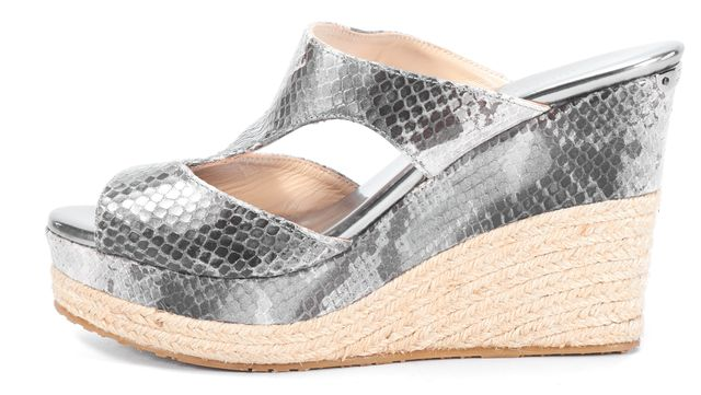 438d339b8cb Details about JIMMY CHOO Gray Snakeskin Animal Print Leather Espadrille  Wedges Size 8 IT 38