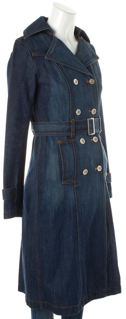 JILL STUART Blue Cotton Double Breasted Belted Denim Trench Coat