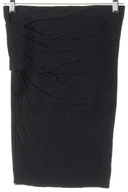 JAMES PERSE Dark Heather Gray Ruched Stretch Knit Jersey Skirt