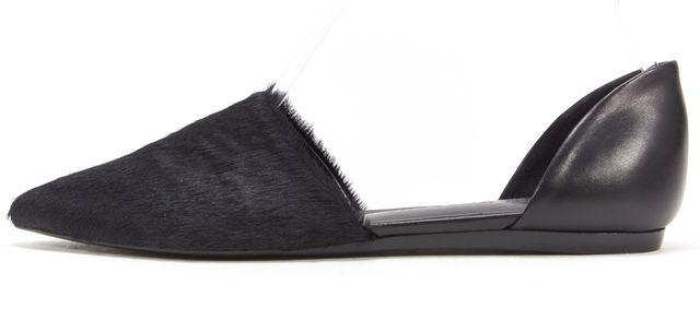 JENNI KAYNE Black Calf Hair Leather Pointed Toe d'Orsay Flats