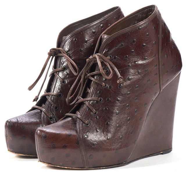 JENNI KAYNE Chocolate Ostrich Embossed Leather Lace Up Wedges