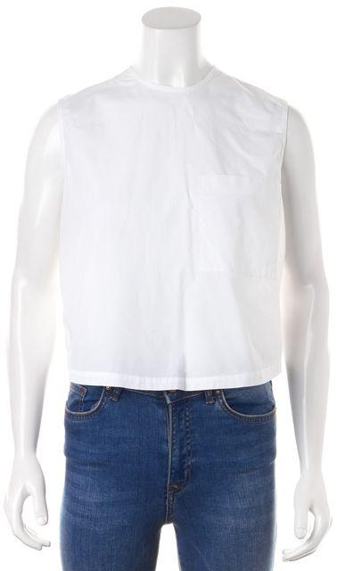JENNI KAYNE White Cotton Front Sheer Silk Back Sleeveless Blouse Top