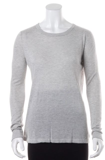 JENNI KAYNE Heather Gray White Striped Long Sleeve Knit Jersey Top