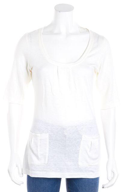 JENNI KAYNE Ivory Linen Pocket front Knit Top