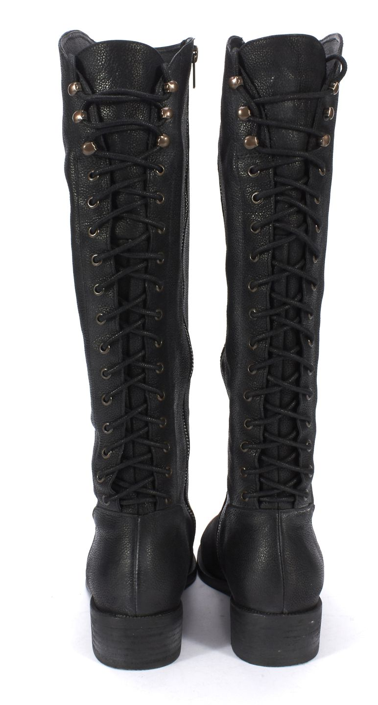 Back lace up boots - Joie Black Leather Back Lace Up Knee High Riding Boots