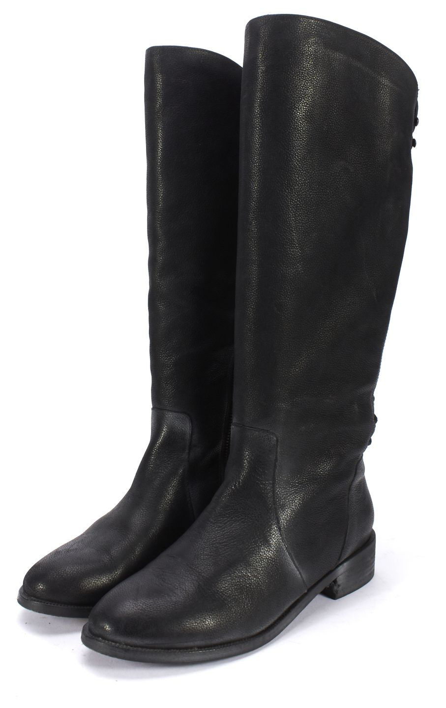 Joie Black Leather Back Lace Up Knee High Riding Boots | Material ...