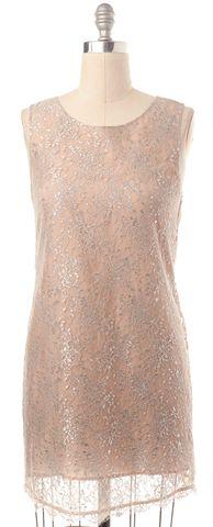 JOIE Beige Silver Lace Sleeveless Shift Dress Size S