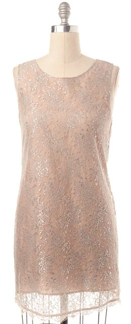 JOIE Beige Silver Lace Sleeveless Shift Dress
