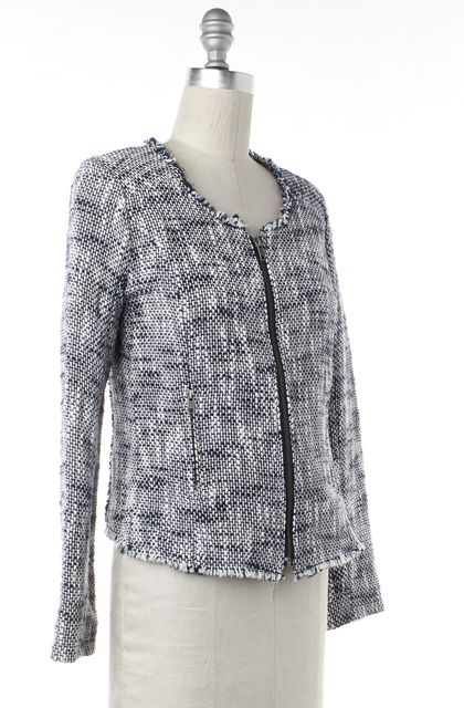 JOIE Blue White Tweed Knit Zip Up Jacket