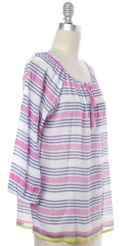 JOIE Blue Pink Striped Tassel Long Sleeve Top
