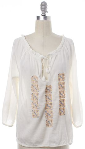 JOIE White Blue Cotton Floral Embroidered Peasant Blouse Top