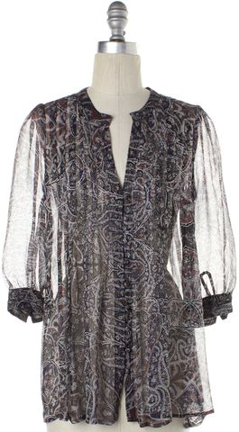 JOIE Blue Red Print Sheer Blouse