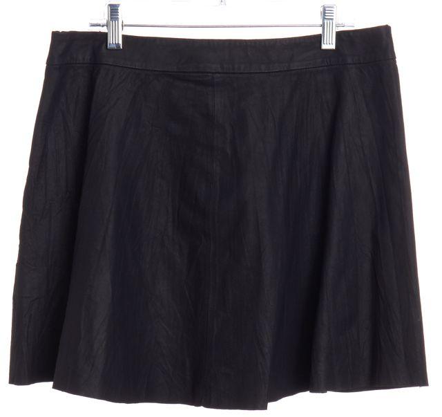 JOIE Black Leather Pleated Skirt