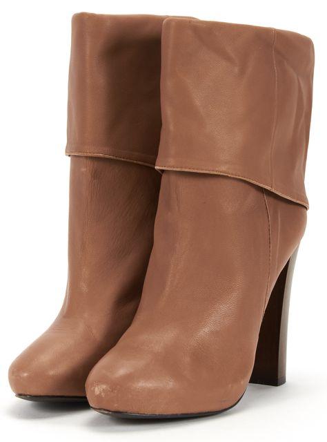 JOIE Cognac Wooden Heel Leather Foldover Boots