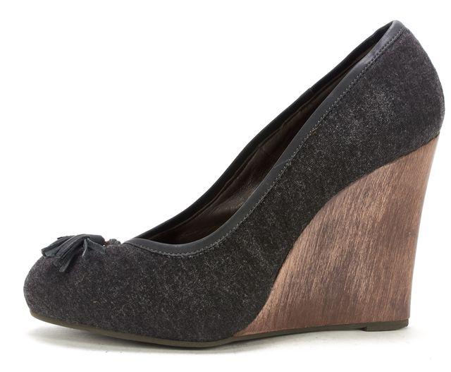 JOIE Charcoal Gray Tassel Wool Wood Wedges