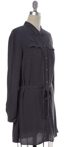 JOIE Dark Green Mini Polka Dot Button Down Shirt Dress