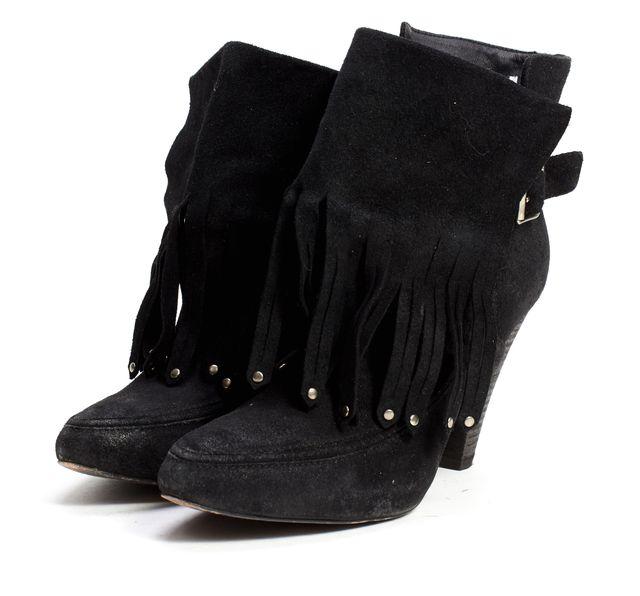 JOIE Black Suede Tassel Embellished Ankle Boots