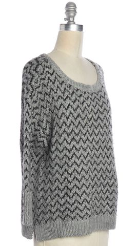 JOIE Gray Gray Black Zig Zag Chunky Knit Wide Neck Sweater Size XS