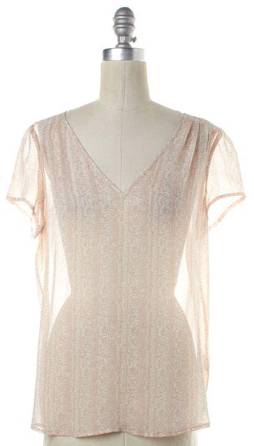 JOIE Pink Brown Print Silk Sheer Top