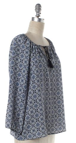 JOIE Blue Floral Print Silk Drawstring Neck Blouse