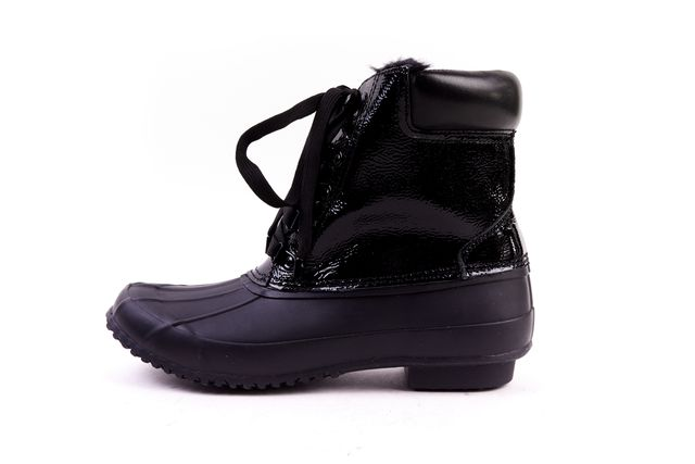 JOIE Black Patent Leather Rubber Faux Fur Lined Snow Boots