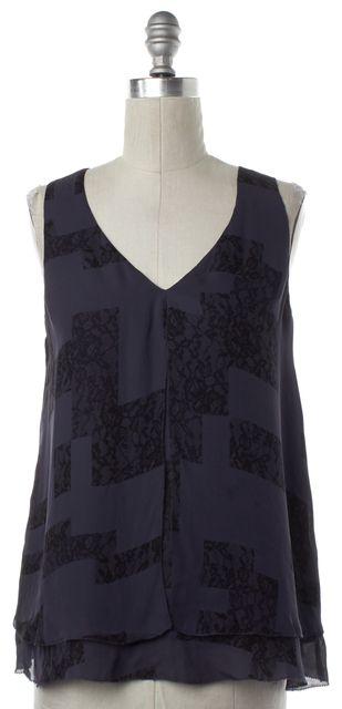 JOIE Navy Blue Lace Print Silk Sleeveless Blouse