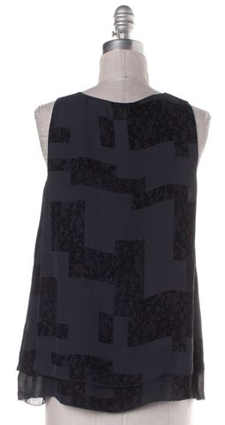 JOIE Navy Blue Lace Print Silk Sleeveless Blouse