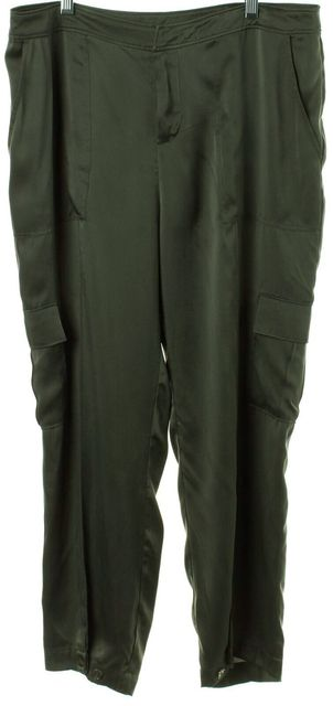 JOIE Green Silk Cargo Casual Pants