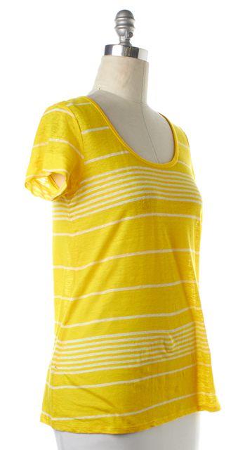 JOIE Yellow Striped Linen Short Sleeve T-Shirt Top
