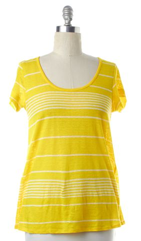 JOIE Yellow Striped Linen Short Sleeve T-Shirt Top