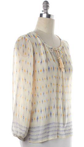 JOIE Ivory Sheer Silk Print Tassel Blouse