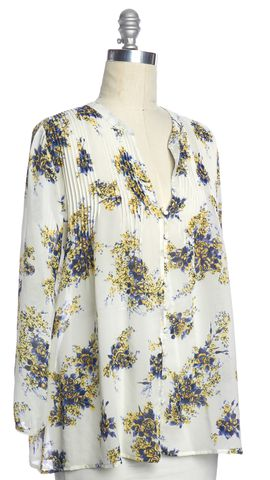 JOIE Ivory Blue Multi Floral Sheer Silk Pleataed Long Sleeve Blouse