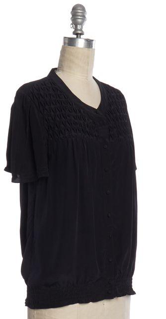 JOIE Navy Blue Silk Short Sleeve Button Down Shirt Top