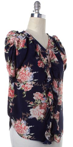 JOIE Navy Blue Red Floral Silk Button Down Shirt