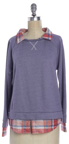 JOIE Blue Red Plaid Collared Sweater